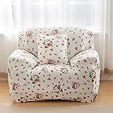 Sofa für 1-Sitzer-Sofa Schonbezug Stretch Elastic Pet Dog Polyester-Couch Displayschutzfolie-Soft Couch Cover Floral Print Bettüberwurf, white rose, 1 seater