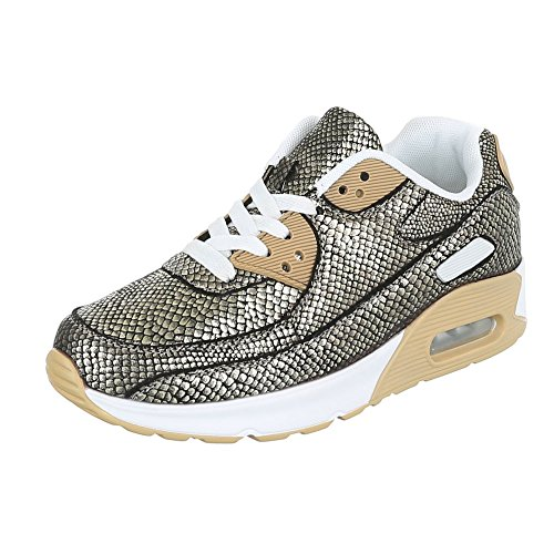 Ital-Design Low-Top Sneaker Damenschuhe Low-Top Sneakers Schnürsenkel Freizeitschuhe Gold