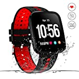 Monitor de actividad, resistente al agua, reloj inteligente de fitness, pantalla HD, monitor de actividad con podómetro/frecuencia cardíaca y monitor de presión arterial, alarma NS/mapa de running GPS, para hombres y mujeres, iOS Android (rojo)
