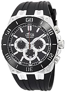 Lotus R Men's Quartz Watch with Black Dial Chronograph Display and Black Rubber Strap 15801/3