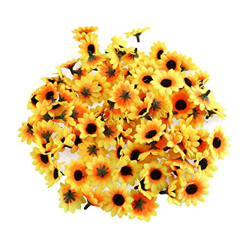 Sonnenblume (WINOMO 100pcs lebensechte künstliche Plastik Sonnenblume Köpfe Home Party Dekoration-Props (gelb))