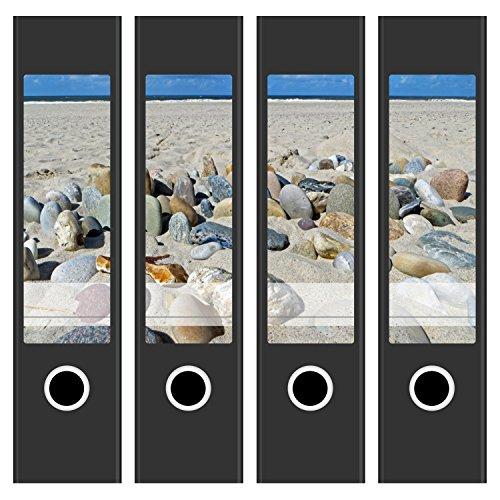 tten / Aufkleber / Rücken Sticker / mit Design Foto Motiv bunte Kiesel im Sand / für breite Ordner / selbstklebend / 6cm breit (Dekorative Ordner)