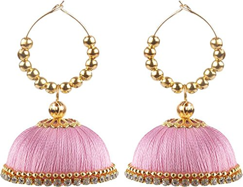 Party Wear Silk Thread Jhumkas Beads Silk Dori Hoop Earring Baby Pink Color  available at amazon for Rs.150