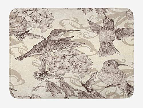 Hummingbirds Bath Mat, Birds and Flowers Monochromic Classical Design Nostalgia Ornate Festive, Plush Bathroom Decor Mat with Non Slip Backing, 23.6 W X 15.7 W Inches, Cream Beige Brown -