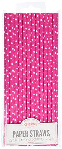 ochzeits-Trinkhalme Pink (Polka Dot Papier)
