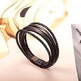Murtoo Edelstahl Echtleder Armband schwarz|braun geflochten mit Magnet Verschluss(22cm) (BraunB) - 5
