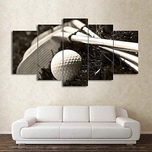 Painting Art Moderner Wand Art Poster Home Dekoration 5 Panel Golfschläger und Ball Wohnzimmer HD Drucken Malerei modulare Leinwand Bilderrahmen, Groß (Moderner-stil-ball)