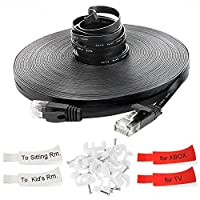 GLCON Ethernet Cable Cat6 30M 100ft Long High Speed 250Mhz 1GB Gigabit Lan Network Cable Flat Black 10Gbps RJ45 Connectors Compatible with Switch/Router/Modem/Patch panel/Access Point/patch field