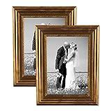 PHOTOLINI 2er Set Bilderrahmen 21x30 cm/DIN A4 Gold Barock Antik Massivholz mit Glasscheibe und Zubehör/Fotorahmen / Barock-Rahmen