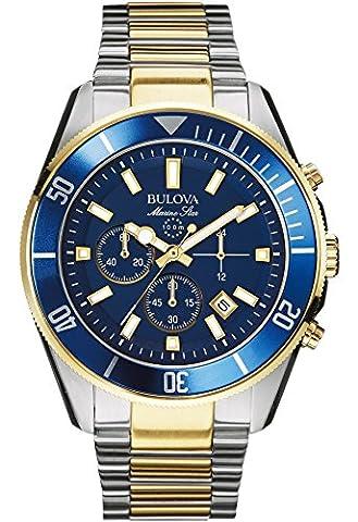 Bulova Men's Desiger Chronograph Watch Stainless Steel Bracelet - Water Resistant Blue Gold Marine Star 98B230