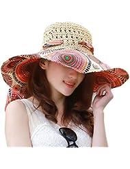 Mode vintage coloré Soleil Fleur Totem Motif Large Bord Floppy Paille Tissage Écumoire Chapeau d'été Chapeau de soleil Plage Casquette Big ainsi que Chapeau pour femme Filles Femmes