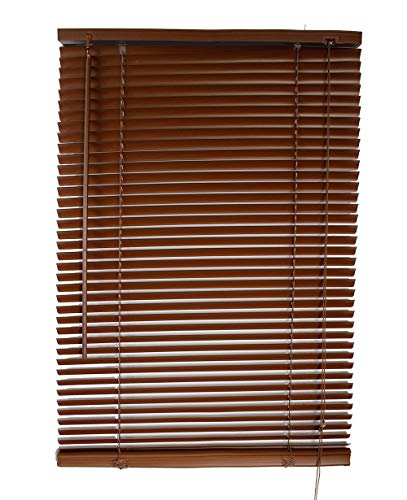 Vetrineinrete® tende veneziane in pvc veneziana finestra tenda marrone bianco beige chiaro o scuro effetto legno varie misure (marrone, 80 x 160 cm) c8