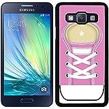 Funda carcasa para Samsung Galaxy A5 diseño zapatilla cordones color rosa borde negro