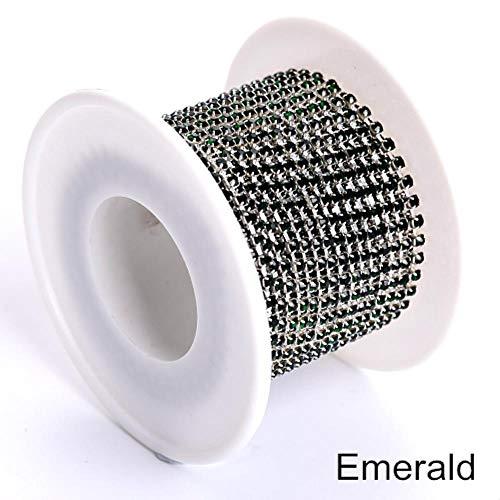 PENVEAT Hohe Qualität 2mm 4mm der Klaue Silver Crystal AB nähen auf Rhinestone-Schalen-Kette Strass Flitter Gold-Greifer für Hochzeitskleid B0977, Smaragd, SS16-4 mm, 5 Yard (Fisch Schalen Bulk)