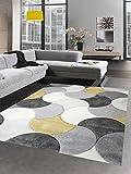 Carpetia Designer Teppich Wohnzimmerteppich Kurzflor Tropfen Senfgelb Gelb Grau Creme Größe 120x170 cm