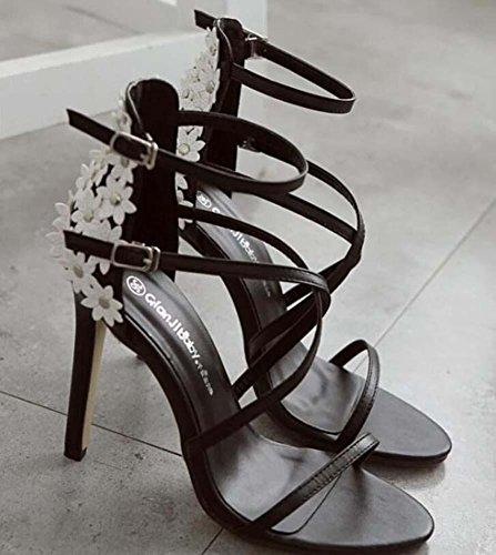 11,5 Cm Pompe Stylet Scarpin Talons hauts Petites fleurs Des sandales Chaussures habillées Femmes Mode Charmant Pointe Toe Open Toe Cross Strap Sangle de cheville Chaussures de cour Chaussures de mari Black