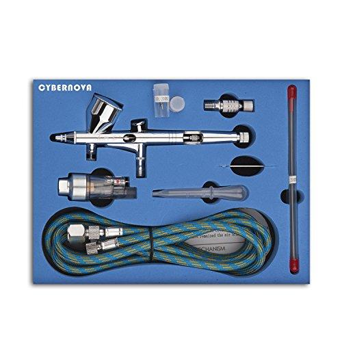 CYBERNOVA Dual Action Airbrush Kompressor Kit 0.2 / 0.3 / 0.5mm Nadel Air Brush Spray Gun für...