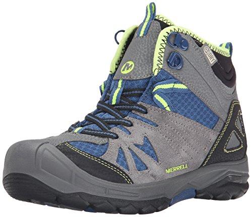 Merrell Capra Mid Waterproof, Jungen Trekking- & Wanderstiefel, Grau (Grey/Blue), 38 - Merrell Junge Schuhe