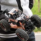 Kikioo Voiture télécommandée à grande vitesse Rock Crawlers, Véhicule de cascade étanche amphibie électrique à l'échelle 1: 14, 4WD 2.4GHz, Double moteur d'entraînement Big Foot Buggy Truck, Voiture d