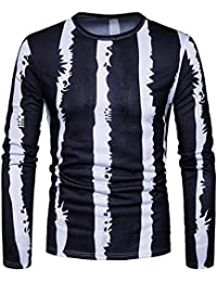 BUSIM Men's Long Sleeve Top Casual Vertical Stripe Print O-Neck Pullover Fashion Slim Fit Color Cotton Thin T-Shirt...