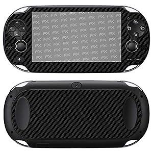 atFoliX Skin kompatibel mit Sony PlayStation Vita, Designfolie Sticker (FX-Carbon-Black), Carbon-Struktur / Carbon-Folie