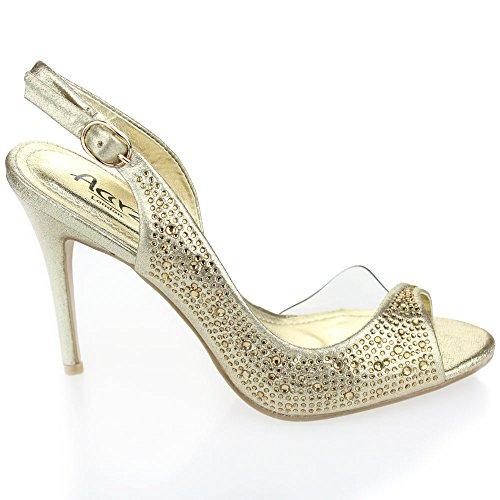 Aarz Frauen-Dame-Abend-Hochzeitsfest -Absatz-geöffnete Zehe Diamante Braut Sandalen Schuhe Größe (Gold, Silber, Champagner, Rot, Schwarz) Gold