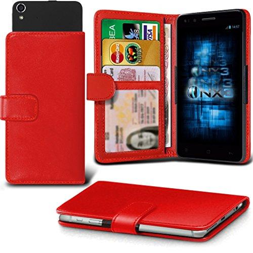 (Red) Aldi Medion Life X5001 Hülle Abdeckung Cover Case schutzhülle Tasche Verstellbarer Feder Mappe Identifikation-Kartenhalter-Kasten-Abdeckung ONX3