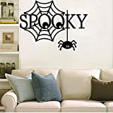 Waofe Vinyl Wandtattoo Spooky Black Spider Webs Halloween Wohnzimmer Interior Home Decoration Aufkleber 57 * 77cm