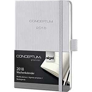 Sigel C1861 Weekly Diary 2018, ca. A6, Hardcover, light grey, CONCEPTUM