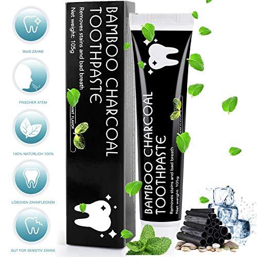 MayBeau Aktivkohle Zahnpasta Natürliche Zahnaufhellung Ohne Fluorid Zahnreinigung Bleaching Zähne Teeth Whitening Toothpaste Weiße Zähne Zahnbleaching Mint Flavour für Frischer Atem -