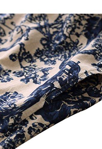 Youlee Frauen Halbe Hülsen-runde Kragen Bedrucktes Kleid mit Taschen für den Sommer Blau