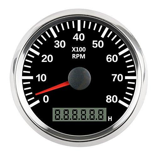 Preisvergleich Produktbild gogolo 0–8000 U / min 8, 8 cm (85 mm) Digital-Analog Tachometer Motor Speed Gauge Kit mit LED Light Plus Motor Arbeitszeit Monitor für 12 V / 24 V Fahrzeuge / Motor / Boote / Truck