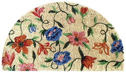 Felpudos fibra coco (40x 70cm PVC y fibra de coco media luna Alfombrilla de Puerta de entrada, diseño floral