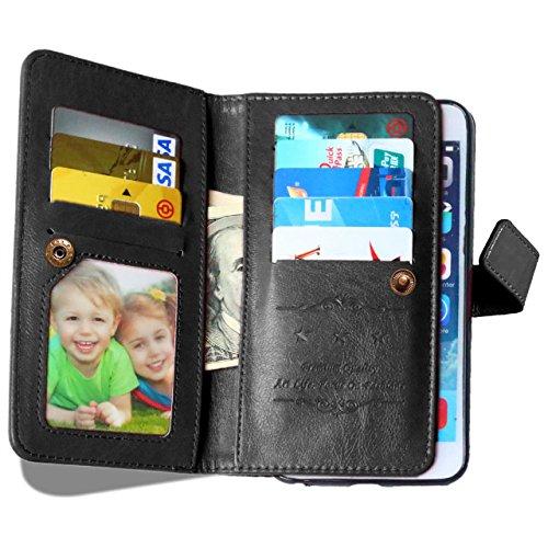 iPhone Case Cover Solide motif de couleur Wallet Style Case Magnétique Design Flip Folio PU Housse en cuir Housse Standup Cover pour IPhone 6S PLUS ( Color : Black , Size : IPhone 6S PLUS ) Black