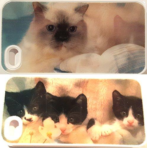 Hard Kunststoff Snap on Cover für Apple iPhone 4/4S 3D Illusion Katze/Kätzchen/Kitty (Virgin 4 Mobile-handys Iphone)