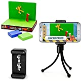 iGadgitz Black Flexible Mini Table Top Tripod with Pocket Clip + Universal Smartphone Holder Mount Bracket Adapter for StikBot Studio Video Filming (StikBot not included)