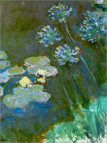 Posterlounge Alu Dibond 120 x 160 cm: Seerosen und Agapanthus von Claude Monet/akg-Images