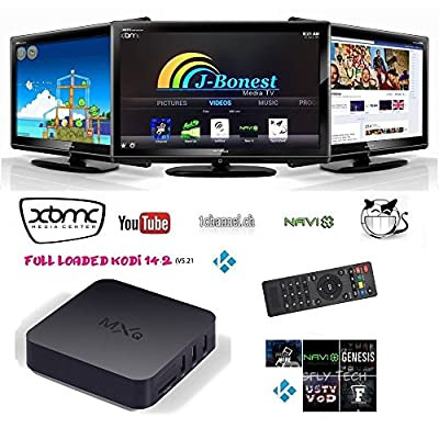 J-Bonest Smart Android Tv Box MXQ fully loaded Quad Core Free kodi(xbmc) 15.2 add-ons HTPC Blue Ray Tv Box Android 4.4 Kitkat H.265 Wifi LAN Miracast Airplay Hdmi 1g RAM 8g ROM stream Sports, Movies, TV Shows, Catch Up TV and Living TV