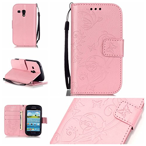 Prägen Blumen-Case, Magnetverschluss Synthetische PU-Leder-Kasten-Abdeckung mit hängenden Seil und Wallet-Funktion für Samsung S3 Mini-I8190 ( Color : Pink , Size : Samsung S3mini I8190 ) Pink