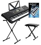 Funkey 61 Deluxe Keyboard Schwarz inkl. höhenverstellbarem Ständer, Sitzbank und Keyboard Basics Lehrbuch (129 Stero-Sounds, 100 Rhythmen, 80 Demo Songs, 61 Drumkits, Netzteil, Notenständer)