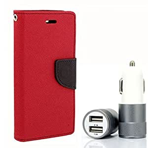 Aart Fancy Diary Card Wallet Flip Case Back Cover For Samsung E5 - (Red) + Dual ports USB car Charger With Ultra Power Technolgy by Aart Store.