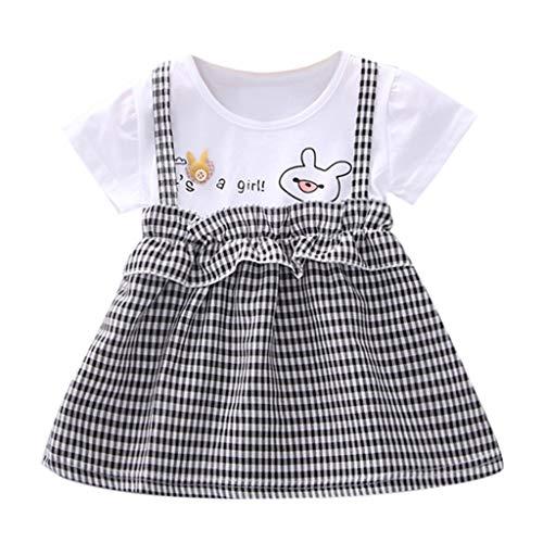 SANFASHION Baby Mädchen Kariert Kleider Kinder Kurzarm Print Prinzessin Partykleid Pageant Tutu Kleid ()