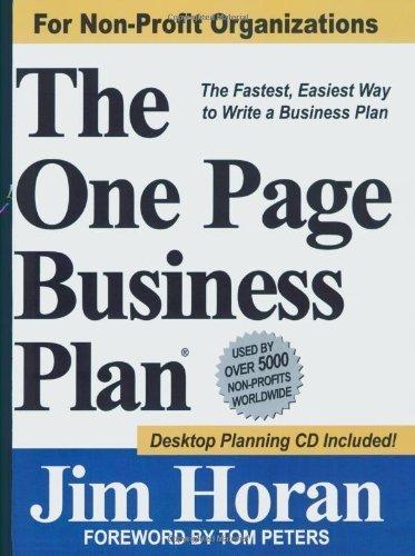 The One Page Business Plan for Non-Profit Organizations 1 PAP/CDR edition by James T. Horan Jr. (2007) Paperback par James T. Horan Jr.
