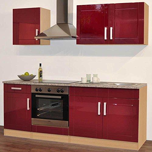 Pharao24 Einbauküchenzeile hochglanz rot 5ltg Chicago