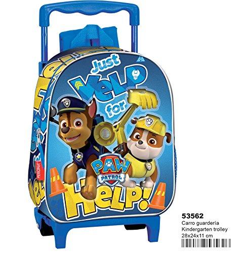 Paw patrol help zaino con carrello asilo trolley, colore: blu