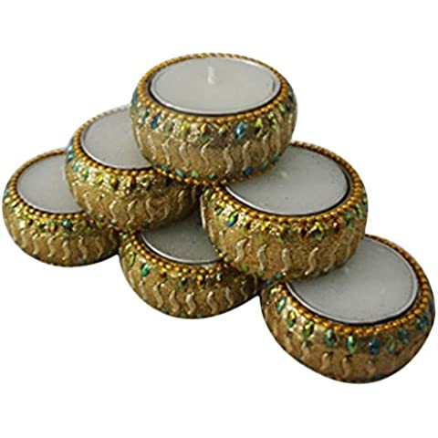 candela decorativa titolare del tè a mano luce di festival Diwali Indian articolo da regalo tradizionale set di 6 pezzi a casa la decorazione dorata