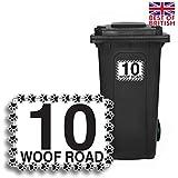 Dog Paws–Papelera personalizada adhesivo etiquetas de vinilo con número de casa y nombre de la Calle–Tamaño A5[Juego de 4]