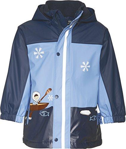 Playshoes GmbH Playshoes Baby - Jungen Regenbekleidung 408595-11 Winter Regenjacke mit Fleecefutter, Style Eskimo, Marine-hellblau, Gr. 80, Blau (11 Marine)