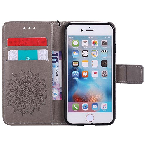 Custodia iPhone 6 / 6S, cmdkd Wallet Custodia Bumper per iPhone 6 / 6S. (Porpora) Grigio