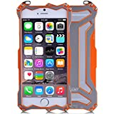 R-JUST Gundam doble Color oxidación aluminio Metal carcasa para iPhone 6 4,7 – Naranja